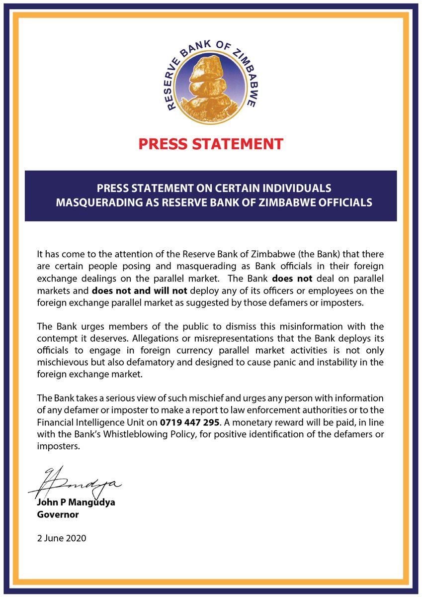 Press Statement on certain individuals  masquerading as Reserve Bank of Zimbabwe Officials https://t.co/IgUBsX6PIW