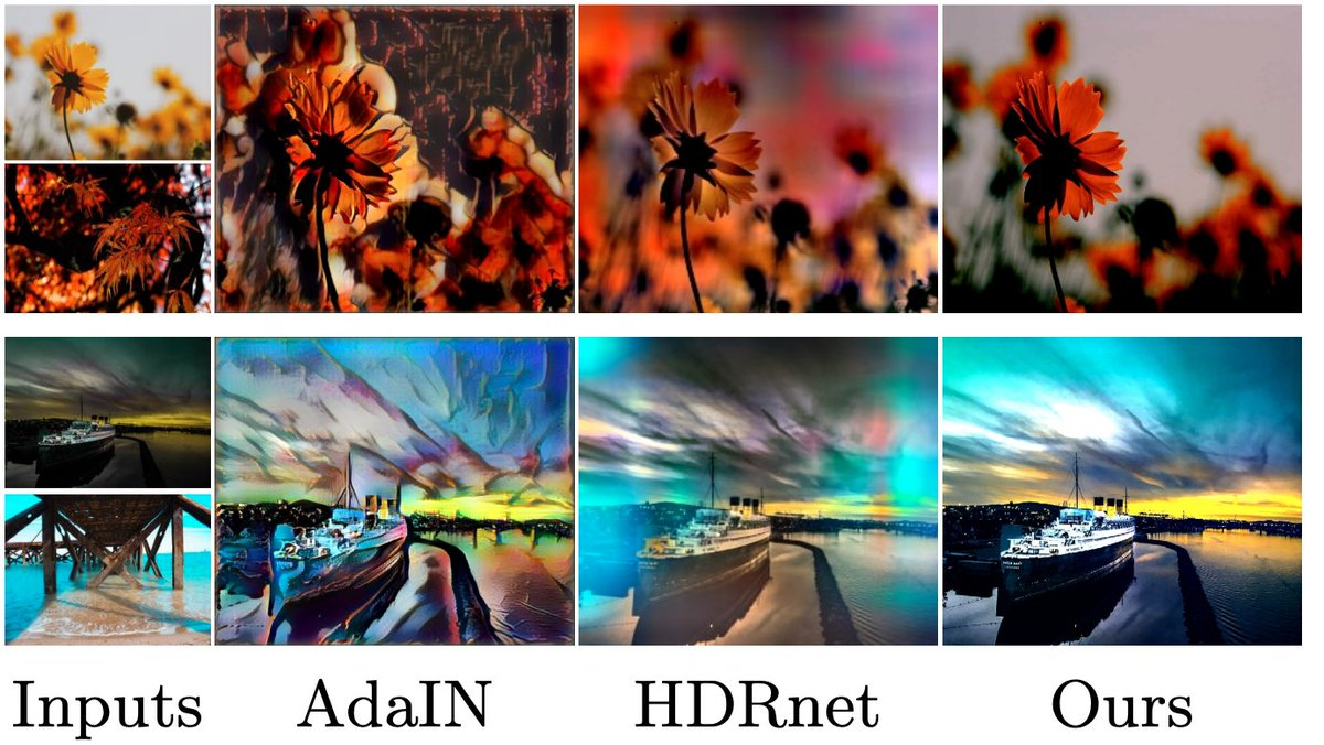 Joint Bilateral Learning for Real-time Universal Photorealistic Style Transferジャンル:image to image写実的なスタイル変換を行うモデル写実性を強制するローカルアフィン変換の学習を提案また、量子化モデルは4K動画の変換をスマホ上でリアルタイムに実行可能