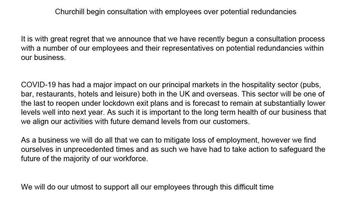 Churchill China confirms it is consulting with staff over job losses, saying Covid-19 has hit trade: https://t.co/PeYRohGpch