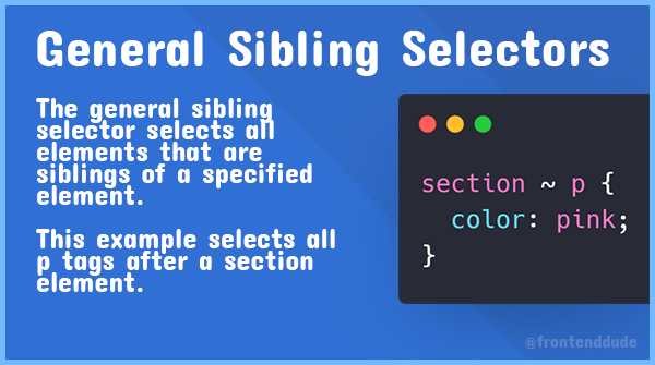 Four CSS Combinators   Between the selectors, we can include a combinator. Learn four of them below:  - Descendant selectors (space) - Child selectors (>) - Adjacent sibling selectors (+) - General sibling selectors (~)   #100daysofcode #CodeNewbies #CSS #webdev #learnCSS<br>http://pic.twitter.com/uMDrldB4B3