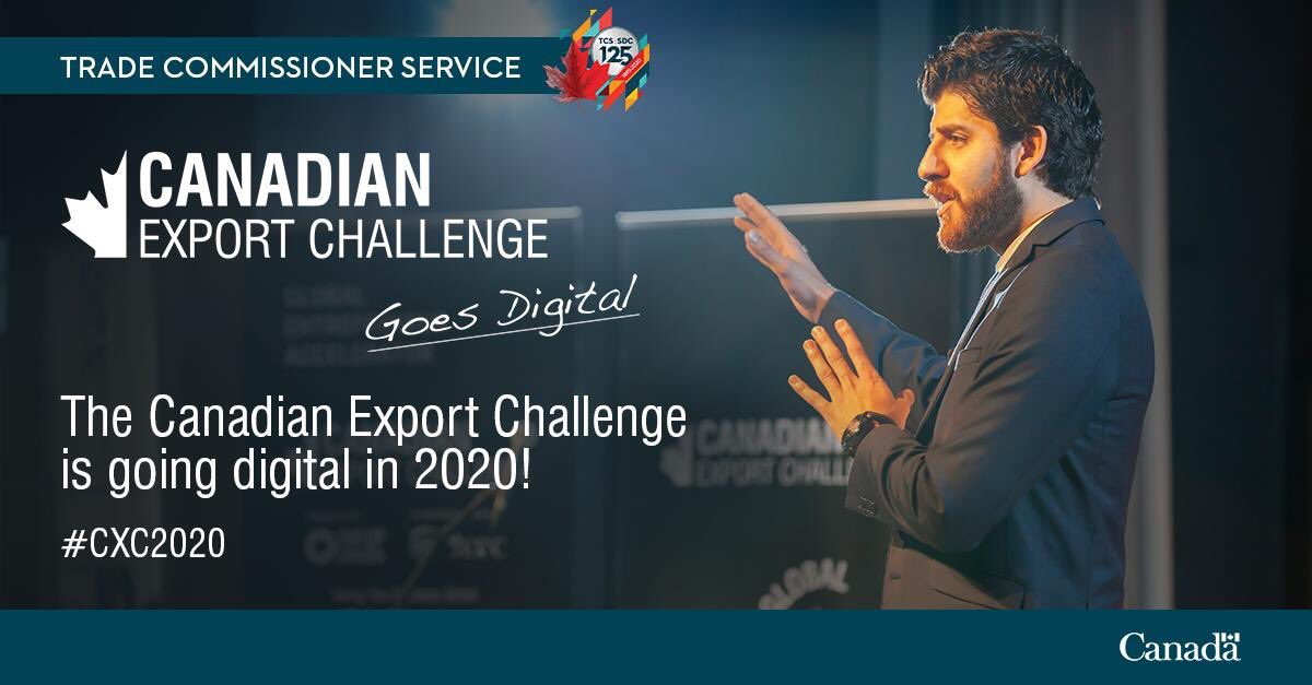 In light of #COVID19, the #CanadianExportChallenge is goin digital,d first-ever nationwide fully digital pitch competition for 🇨🇦 exporters!   🇨🇦 entrepreneurs hv a chance to mk a pitch to win $2500 as a start-up or $5000 in d scale-up category.  https://t.co/JQIkDdYG1Q #CXC2020 https://t.co/HmR21lBGK8