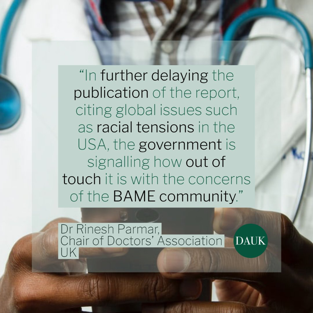 It is worrying that the report on the effect of COVID-19 on ethnic minorities still remains unpublished @MattHancock. The impact on these groups is disproportionate. We need to take action to protect the vulnerable - and we cant do it blind. news.doctors.net.uk/news/31439
