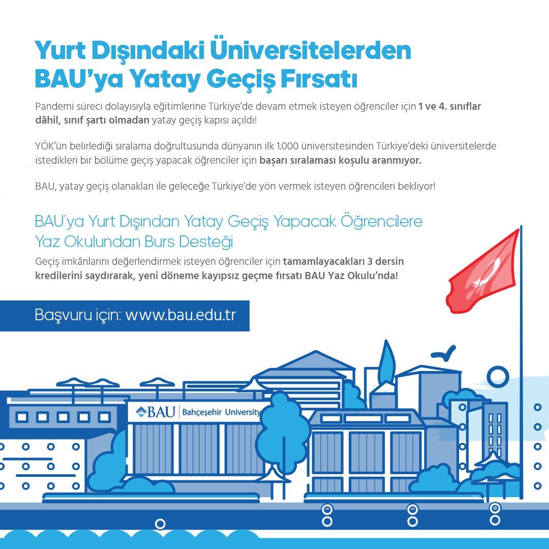 Yurt Dışındaki Üniversitelerden BAU'ya Yatay Geçiş Fırsatı!  Yurt dışında okuyan fakat pandemi süreci nedeniyle eğitimine Türkiye'de devam etmek isteyen öğrenciler için, 1. ve 4. sınıflar dahil, sınıf şartı olmadan yatay geçiş kapısı açıldı!  Başvuru: https://t.co/cCRSoGyQ32 https://t.co/ZyP8uZxi9X