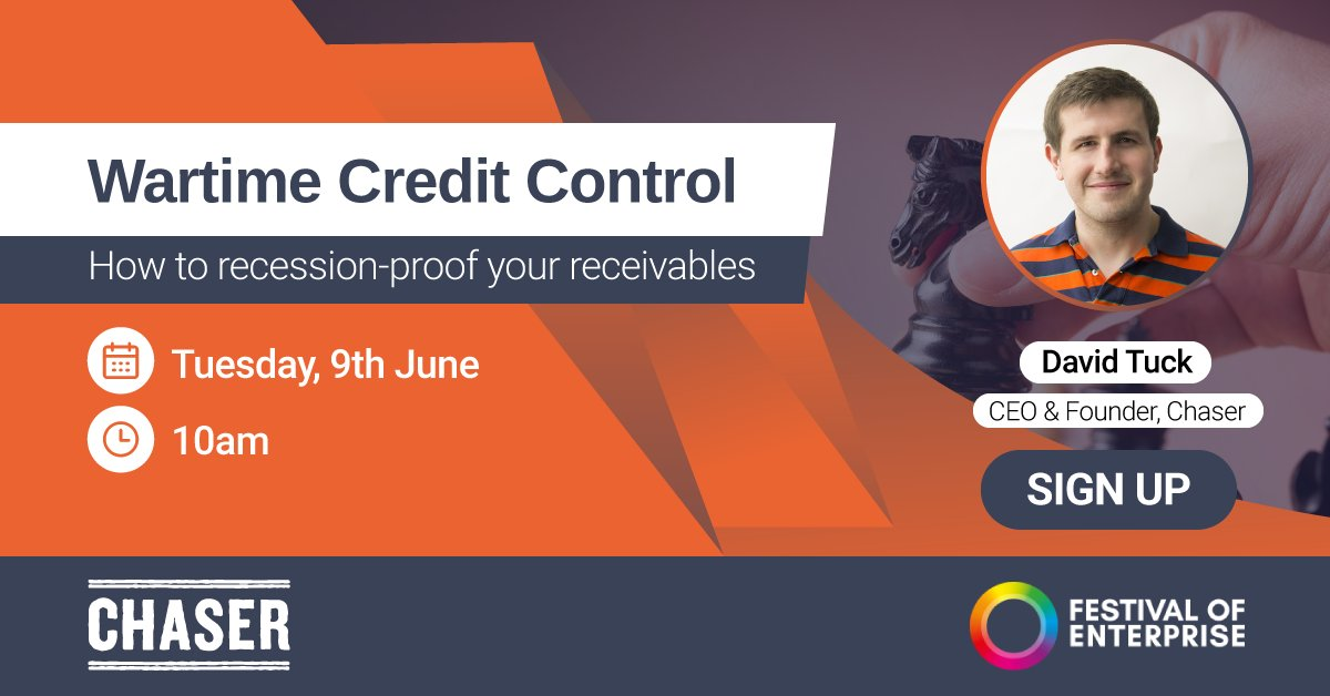 Ensure your business can #BounceBack after Covid-19, with essential credit control advice from @chaser_david in his webinar with @EnterpriseExpos 📈💡 https://t.co/1yOwERkDb0  #FestivalofEnterprise #RecessionProof #BusinessSupport #Entrepreneur #SME https://t.co/8RtW0YSopH