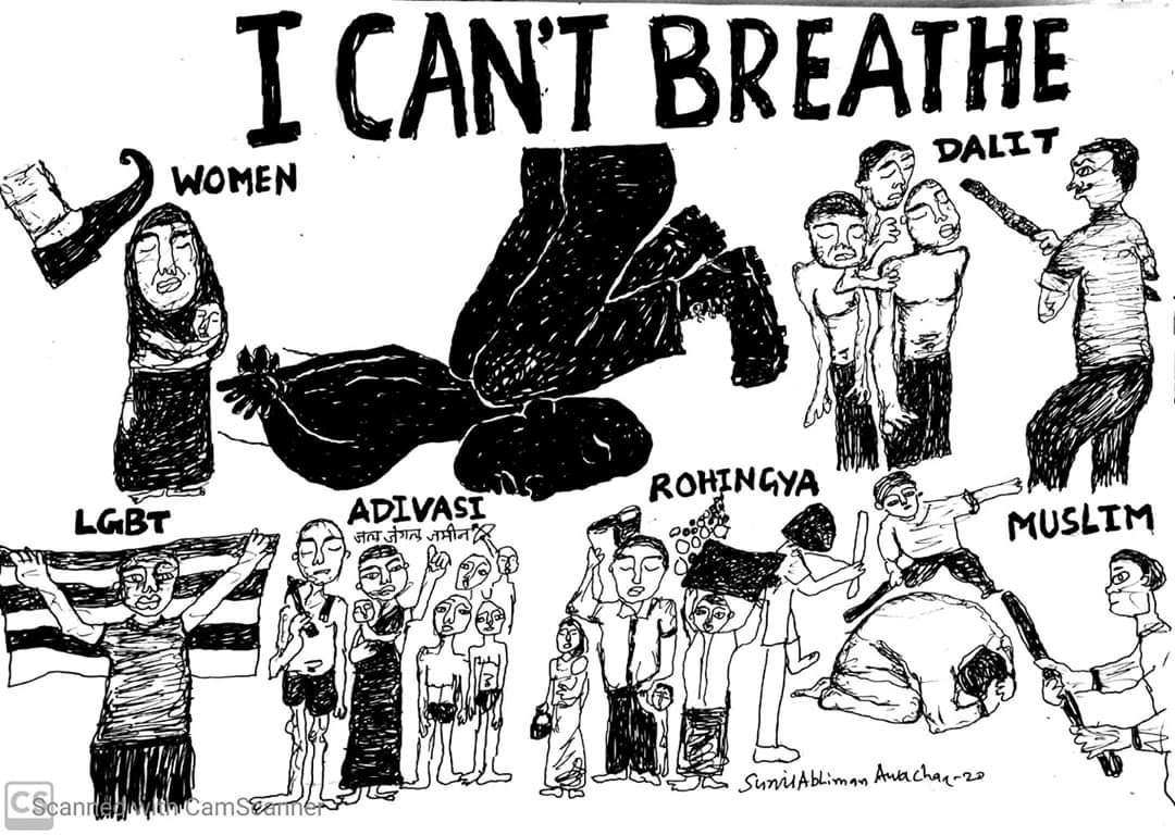 #blacklivesmatter #justicegorgeorge #Blacklivematter #icantbreathe #racism #blackandwhite #black #blacklivesmatter #america #noracism #india #nocasteism #caste #sexism #religion #language #blm #blacklivesmatter #jaibhim #whatmatters2020 #election2020 Art by @SunilAbhimanAwcharpic.twitter.com/BuqQDYQ9ul