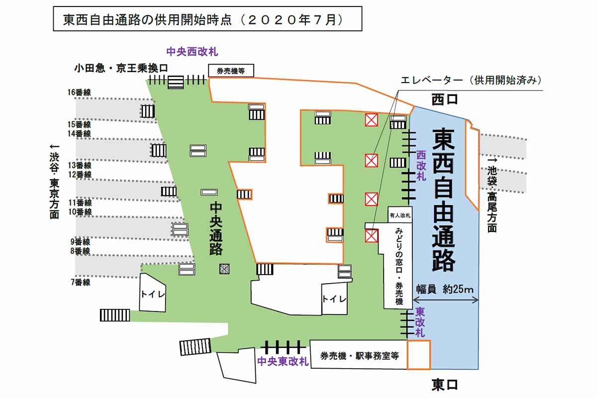 JR新宿駅、東西自由通路を7月19日供用開始。改札を通らず移動可能に