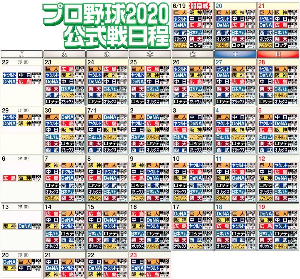2020 プロ 日程 野球
