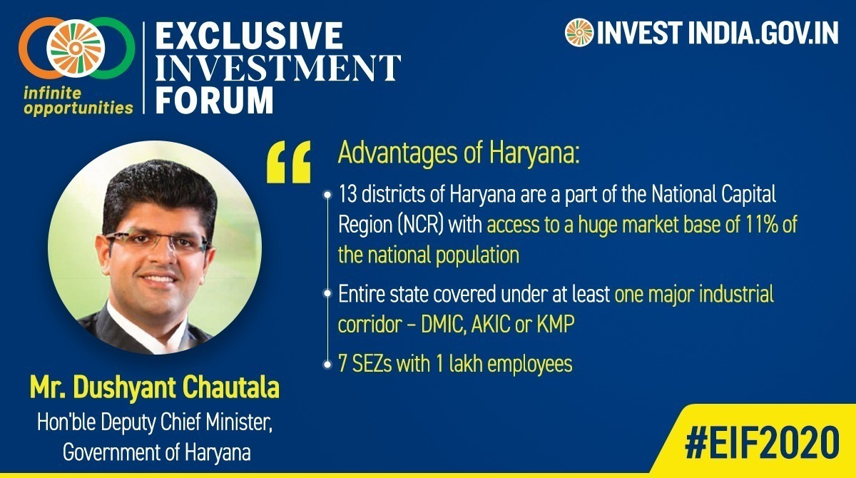 #EIF2020  Mr. @Dchautala, Hon'ble Deputy Chief Minister, Govt. of Haryana on what makes the state an ideal destination for #electronics manufacturers.  #MakeInIndia #InvestIndia   @cmohry @makeinindia @rsprasadpic.twitter.com/D7Xdbzsgqm