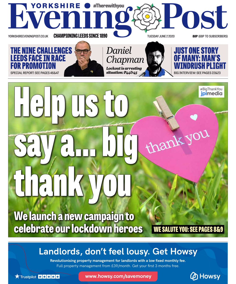 Thank you. Two small words that mean so very much - and often the hardest words to say. Today @LeedsNews launches its #BigThankYou campaign to recognise those who have supported our city during the pandemic. We need you to tell us who they are 🙌🏻More here: yorkshireeveningpost.co.uk/read-this/why-…