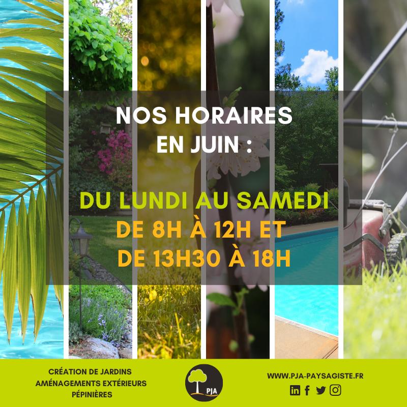Voici nos horaires en Juin !  Une envie ? Un projet de création ou d'aménagement de jardins ? Nos équipes sont à votre disposition pour vous aider et vous conseiller du lundi au samedi de 8h à 12h et de 13h30 à 18h.  A bientôt chez PJA !  #pja #roanne #monjardin #plantes #arbrepic.twitter.com/Qh1sBuSgmh