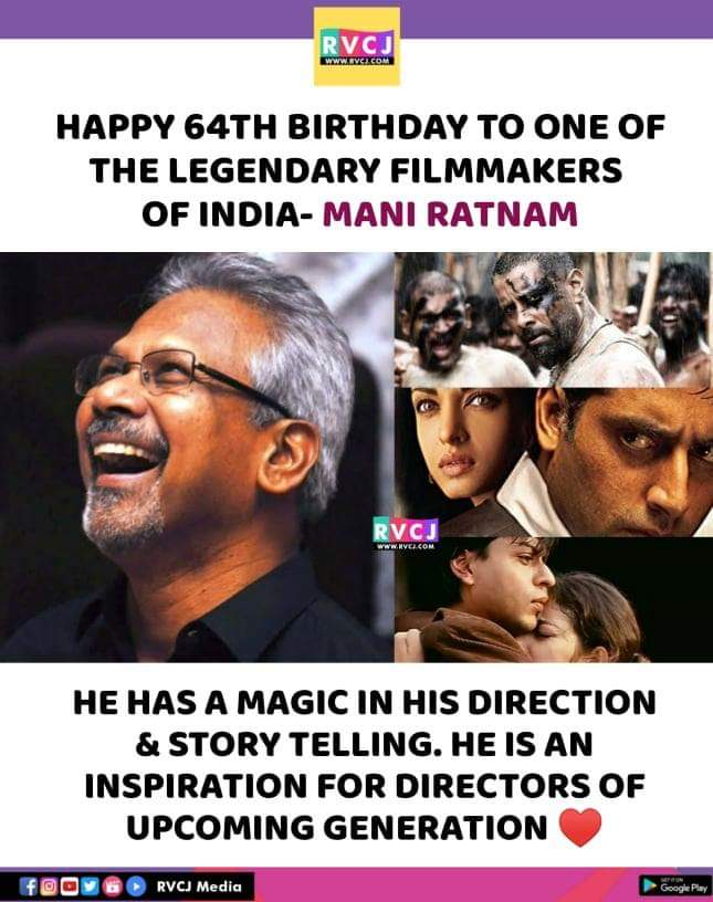 Happy Birthday Mani Ratnam!#happybirthday #movies #direction #rvcjmovies pic.twitter.com/PMHjTXtLoI