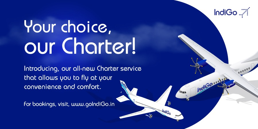 Fly smarter with IndiGo Charter! Yes, you heard it right, here's introducing our all-new charter service which lets you make more choices. For bookings, visit, https://t.co/hewVRREXM1 #LetsIndiGo #aviation https://t.co/85aoQYtCnt