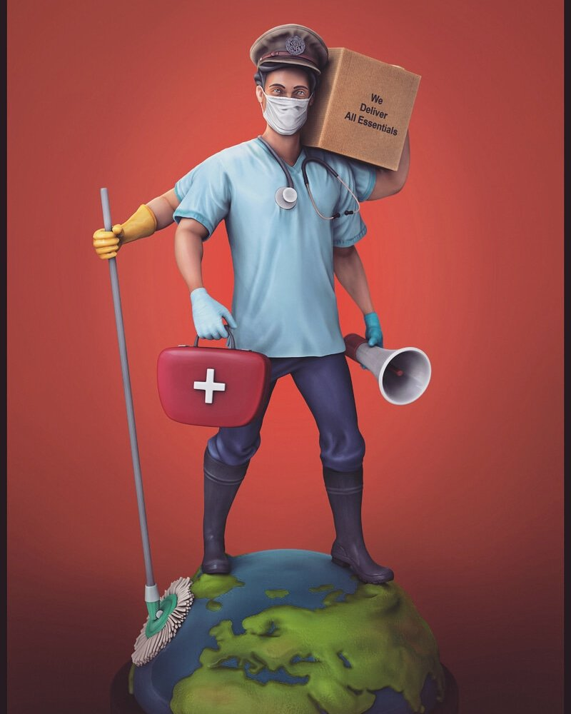Hello Everyone....  My entry for #superherochallenge 2020 Plz vote me here :   #ArtStation link:   #3dartist #3dmodel  #zbrush #3drender #3dprint #sculpture #zbrushcentral #sculpting #instagram #covid19 #coronavirus #doctor #police