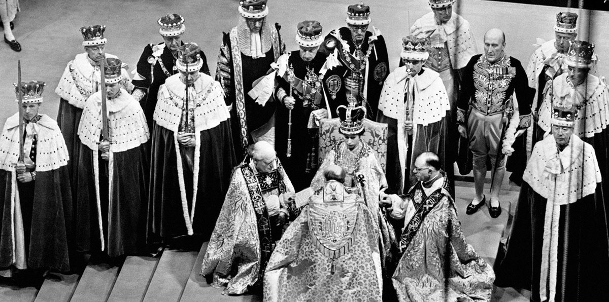 Whilst an occasion for celebration, The Queen's Coronation was a solemn, religious ceremony @wabbey that lasted almost three hours.  The service has remained essentially the same for over 1,000 years.  Find out more about the Coronation Service ➡️https://t.co/plRSlzcemC https://t.co/D5aSBOg662
