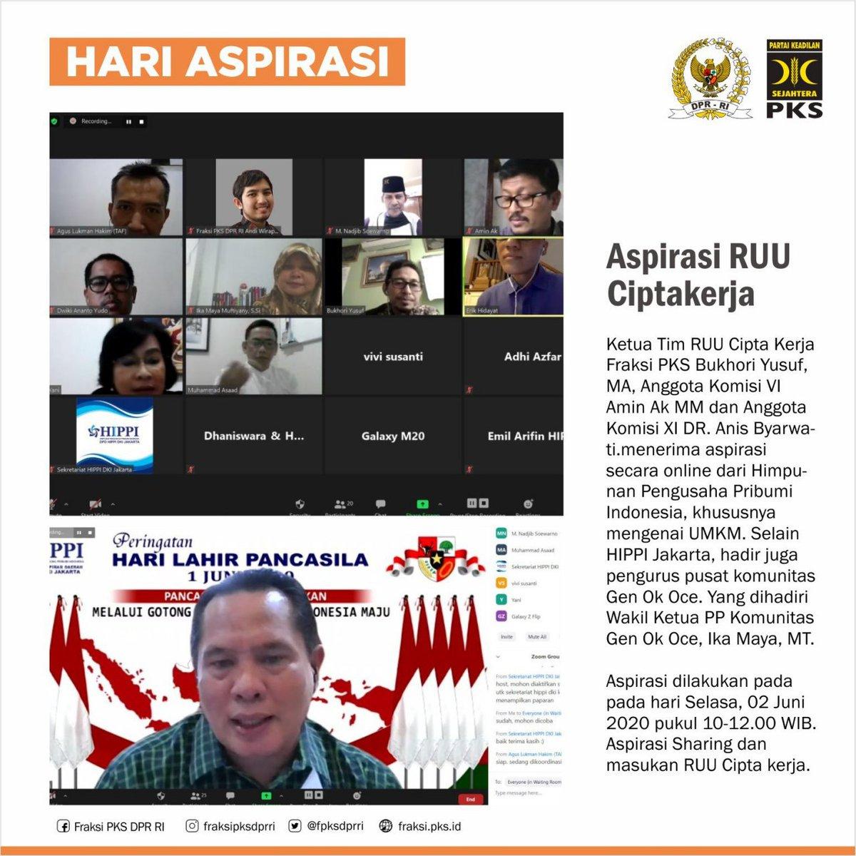 [HARI ASPIRASI FPKS DPR RI]  Fraksi PKS DPR RI mengadakan Hari Aspirasi bersama Pengurus Himpunan Pengusaha Pribumi Indonesia terkait sharing dan masukan RUU Cipta Kerja utamanya mengenani UMKM.  #fraksipksdprri  #berkhidmat  #bersamahadapicovid19  #hariaspirasifpksdprri  #Syawal https://t.co/oM2FuP33eA