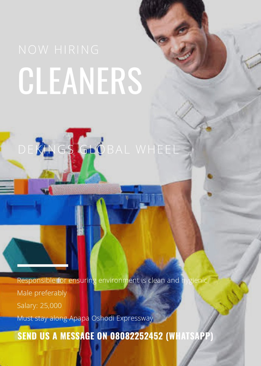Cleaners needed urgently! Please RT. #cleaner #job #lagos pic.twitter.com/J25VopmBoC