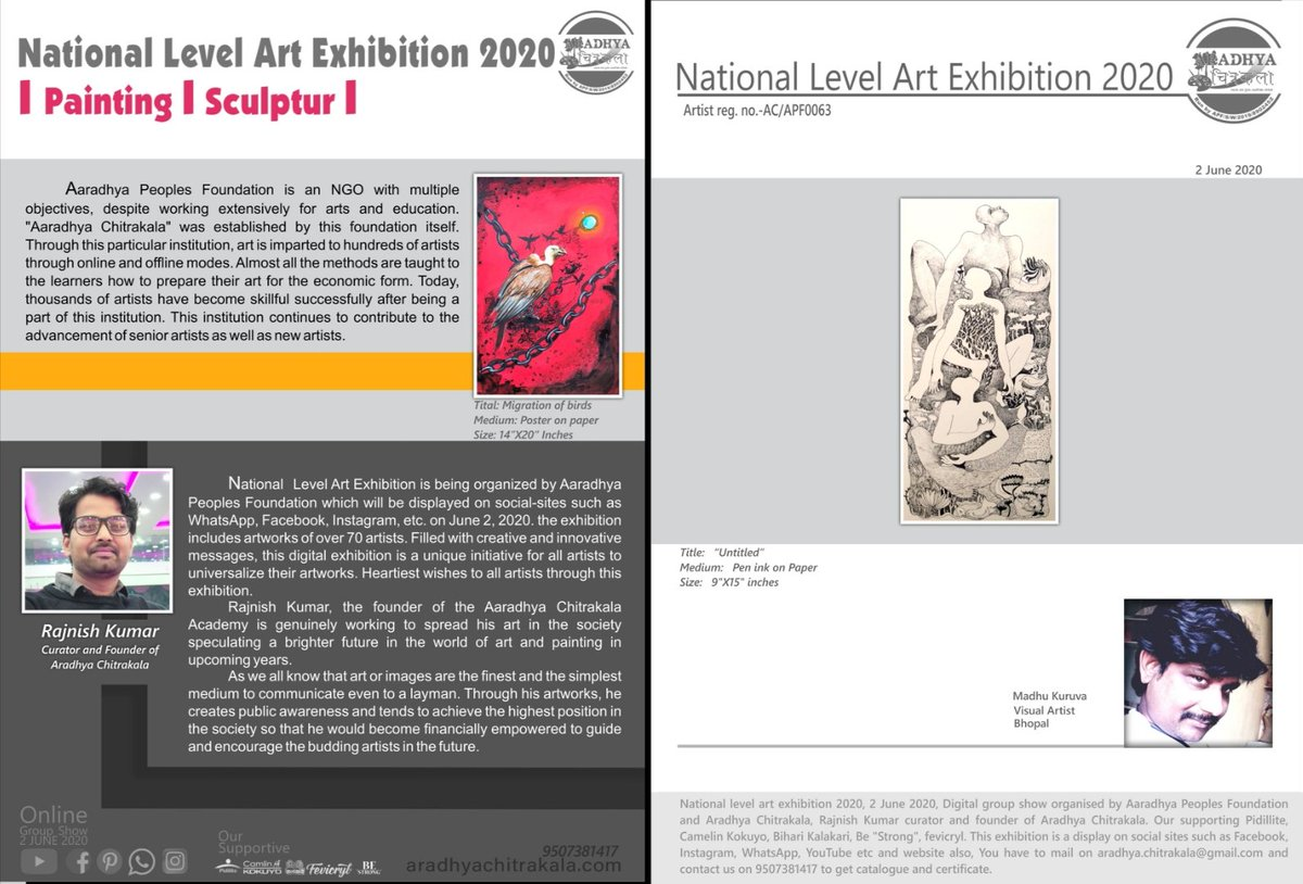 Happy to share with you all I'm Participating National Level Art Exhibition-2020 (Online Show). Thanks to Rajnish Kumar Mourya. pic.twitter.com/wejqHZeHT9