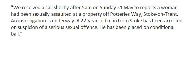 Police in #Stoke-on-Trent are investigating reports of a sexual assault: https://t.co/ihRTtJ1Aar