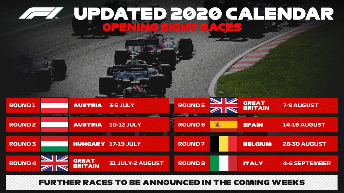 Here we go! ⚡️  The 2020 @F1 season will start in Austria on 5 July. 🗞️ Who's ready?   #Formula1 https://t.co/gjN8K8xcAm