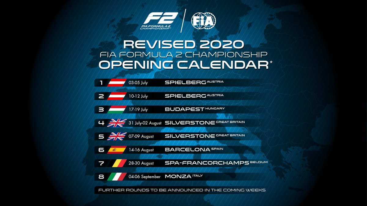 BREAKING: The first 8 rounds of the 2020 #F2 season are confirmed Racing will take place under strict safety procedures, and events are currently not expected to be open to spectators Further rounds will be announced in the coming weeks