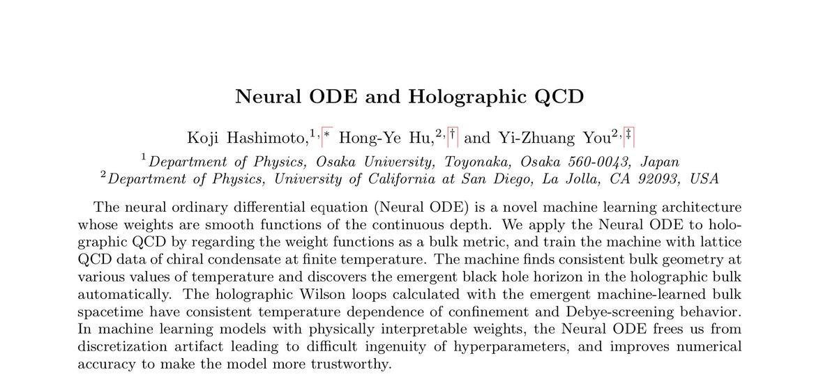 今日新しい論文を出しました。Neural ODE(連続関数の重みを持つ深層学習)をホログラフィーの時空創発に応用する研究です。UCSDの Hong-Ye Huさん @HongYeHu1 とYi-Zhuang Youさんとの共同研究。