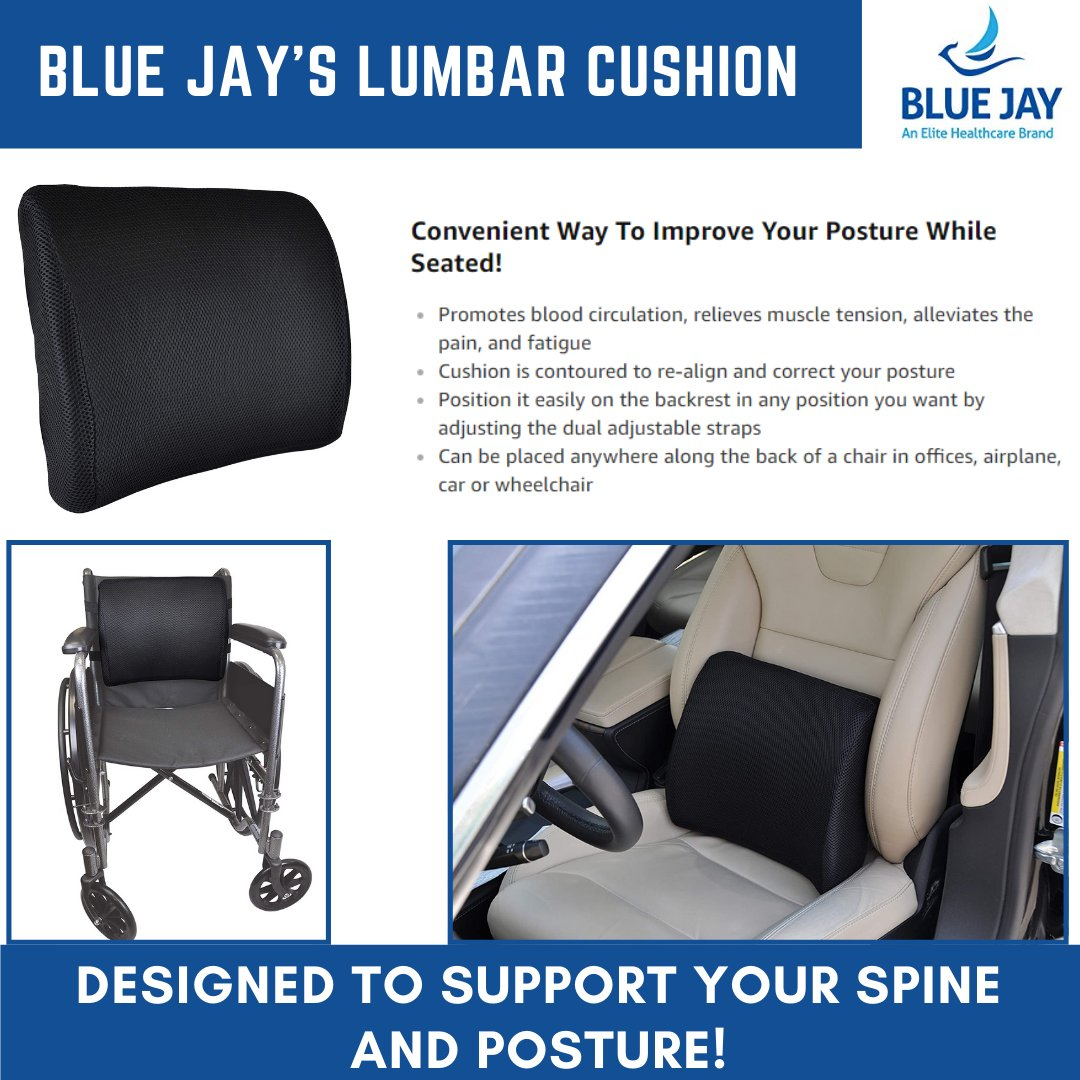 Blue Jay's memory foam lumbar cushion helps provide you relief from your back tightness, pressure, and pain.  Available on:   #bluejay #cushion #comfort #seat #healthy #HealthForAll #HealthyAtHome #relief #back #pain #pressure