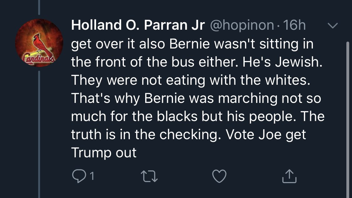 Weirdest centrist take I've ever seen. This @JoeBiden supporter is claiming Bernie fought segregation not because he cared about Black Americans but because Jewish people were also segregated!?   My head hurts.