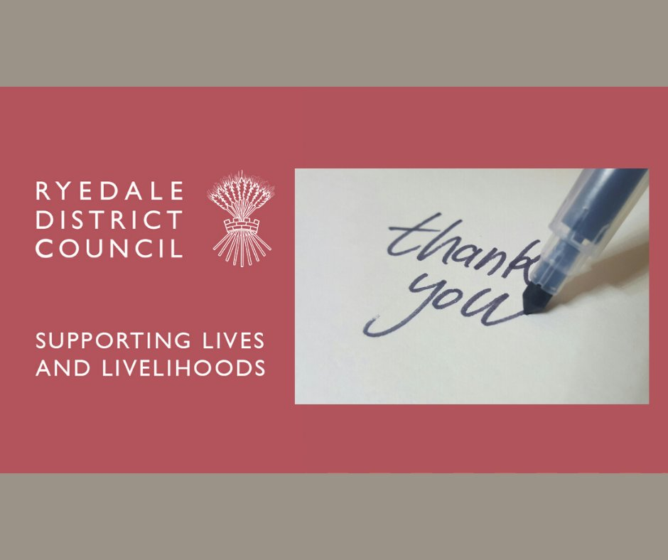 It's Volunteers Week 2020 and we really appreciate the amazing volunteers in Ryedale who are going above and beyond for our communities. We'd like to say a big 'thank you'. https://t.co/Ak8jpGAq2h