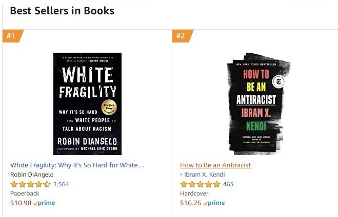 This doesn't happen everyday. It is fitting it happens on the day we are Blacking out for Black lives and hopefully supporting our local independent bookstores, too. The #1 and #2 overall bestsellers @amazon right now are two books challenging racism. This is you. 🖤🙏🏾🖤🙏🏾 https://t.co/jglXmlEfeY