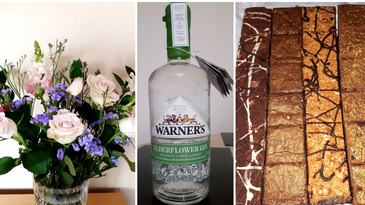 I have received some very thoughtful presents from my wonderfully supportive friends over the past few weeks. I think these three sum up how well they all know me: flowers, gin + chocolate brownies 😀. Thank you! #Covid19UK #NHS #ThankYou @BloomandWild @warnersgin @BadBrownieCo