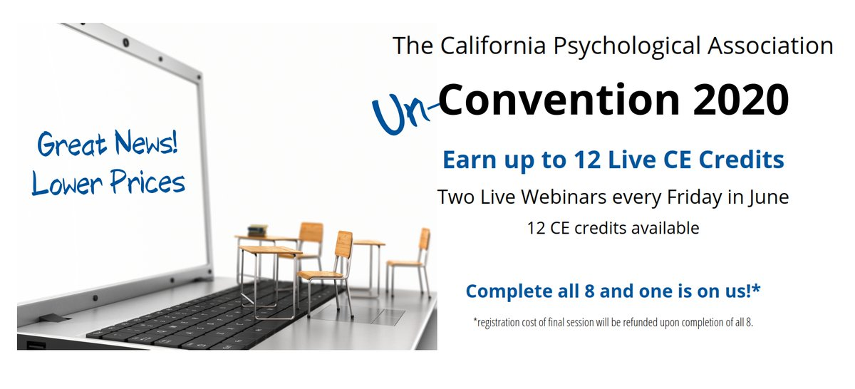 "Our first webinars for our Un-Convention are this Friday with @DrByrdOlmstead @drthema @DrShellyHarrell We reduced the reg fee so check out the lineup!  ""Live"" CE credits and approved CE credits for BBS licensees too!  Attend all 8 and get one free!  https://t.co/oZQQ6c1Igo https://t.co/swzSrB47VH"