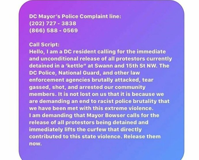 PLEASE CALL THE DC MAYOR COMPLAINT LINE TO GET OUR COMRADES OUT. 202 727 3838 1 866 588 0569