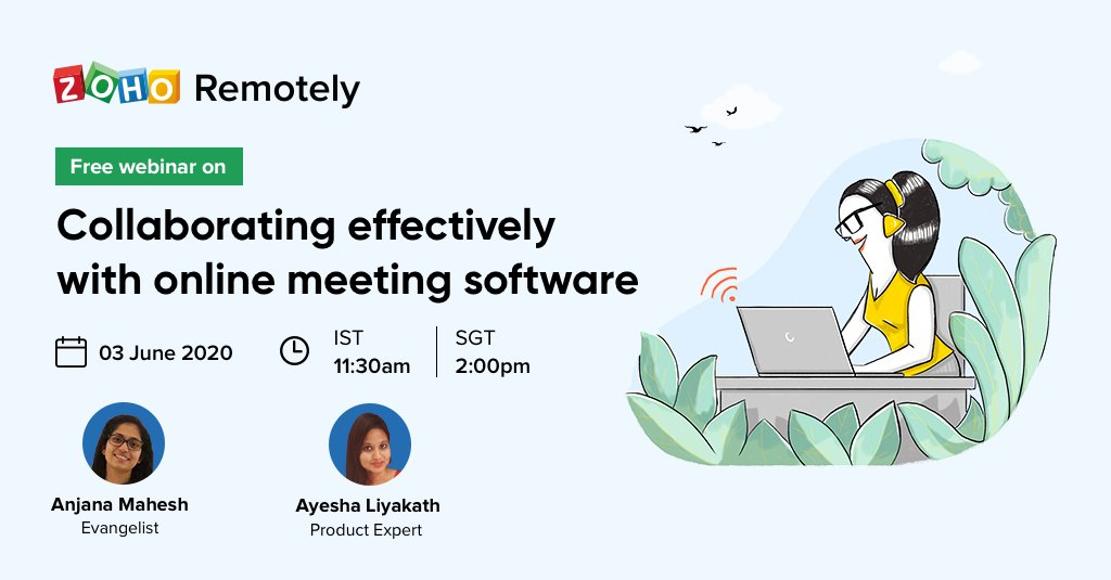 With #RemoteWork being the norm lately, it is essential for online meetings to be:  Secure Convenient Interactive  In tomorrow's webinar, learn how @zohomeeting in Zoho Remotely can help you organize and participate in effective online meetings.   https://zcu.io/w8P4 pic.twitter.com/c6OexvlJjy