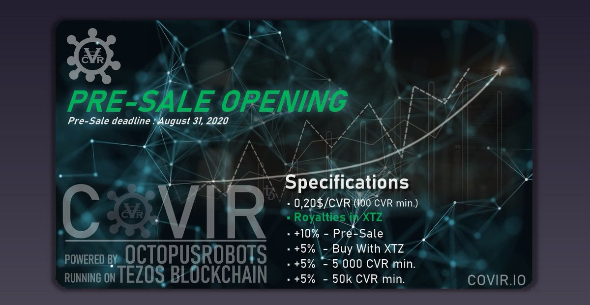 PRE-SALE OPENING - Everyone can participate without exception and without limits. (from 100 CVR (20$) minimum) ! Stay Tuned for more info ! https://covir.io  #covir #coronavirus #octopusrobots #bitcoin #covid #cvr #earnmoney #share #presale #tezos #xtz  @Covir_iopic.twitter.com/DFxu3BGbox