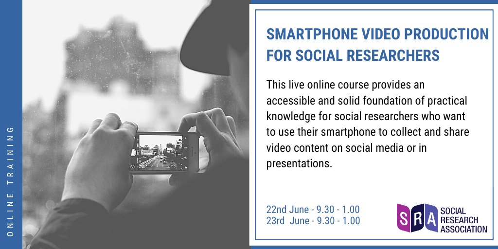 This course provides an accessible introduction to videomaking and a solid foundation of practical knowledge for social researchers. (Foundation level) Sign up here: https://bit.ly/2XWucQw #socialresearch #training #videomakingpic.twitter.com/0PlXHLwdCW