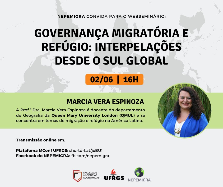 I look forward to meeting the researchers at NEPEMIGRA in the UFRGS, Brazil, when we gather online this evening to discuss about migration governance. Thanks for the invitation! pic.twitter.com/kHmeBlsO15