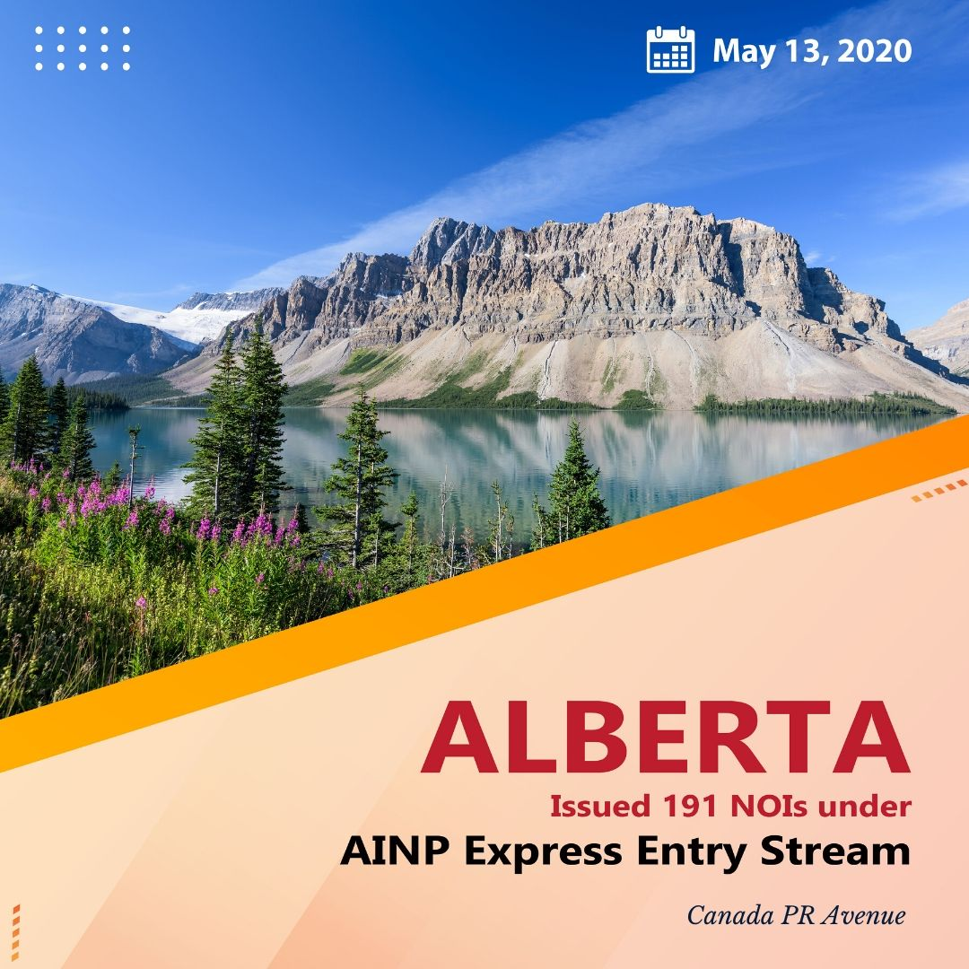 Alberta 𝐈𝐬𝐬𝐮𝐞𝐝 𝟏𝟗𝟏 𝐍𝐎𝐈𝐬 with CRS Score as low as just 300 points through AINP- Express Entry stream draw took place on May 13, 2020.  𝐑𝐞𝐚𝐝 𝐅𝐮𝐥𝐥 𝐍𝐞𝐰𝐬: https://t.co/LQeb39hwgp  #canadapnp #ainp #expressentry #alberta #immigrationnews https://t.co/3CnragsRRb