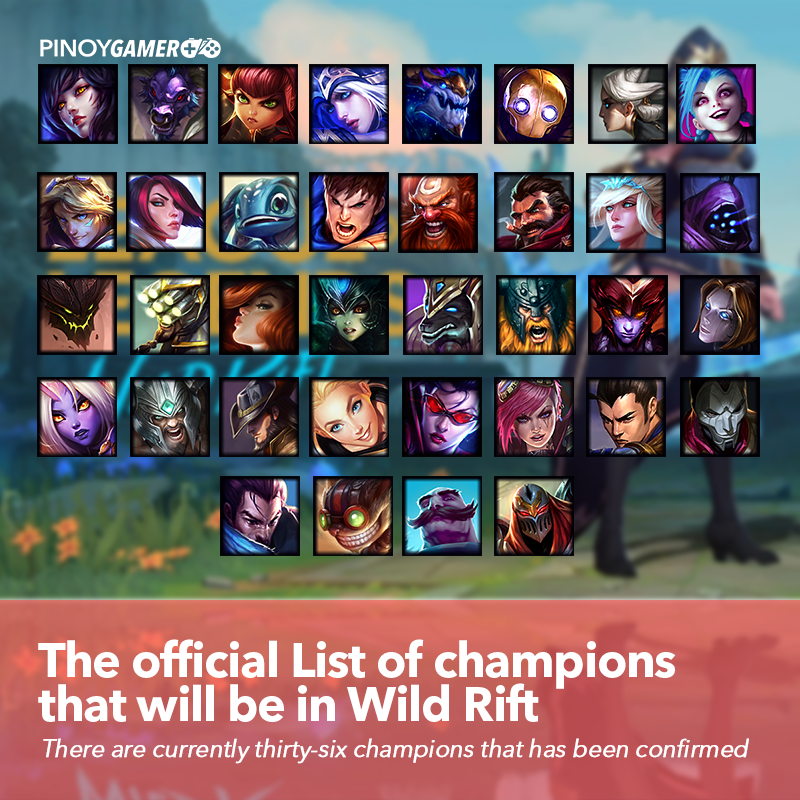 Pinoygamer On Twitter List Of Confirmed Champions In League Of Legends Wild Rift Features Thirty Six Iconic Champions Wildrift Riotgames Leagueoflegends Pinoygamer Https T Co Tehcbsthla