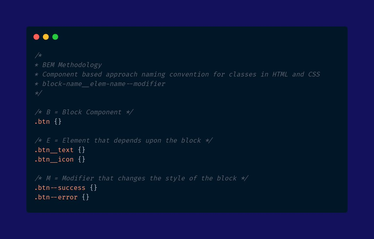 There are many CSS methodologies out there but one of my favourites is the BEM methodology   It's a naming convention for classes in HTML and CSS with component-based approach in mind  #html #css #CodeNewbie #100DaysOfCode #css3 #webdev <br>http://pic.twitter.com/Bakz58MJY7