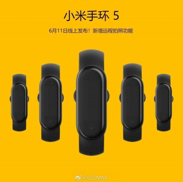 #شاومي تحدد رسيما يوم 11 يونيو موعدًا للكشف عن سوار اللياقة البدنية Xiaomi Mi Band 5 وحسب التسريبات فإن أكثر ما يميّز السوار هو أنها ستحمل ميزة التحكم في كاميرا الهاتف عن بُعد، بحيث يمكنك استخدامها للتصوير. كما ستضم مستشعر لقياس مستوى الأوكسجين في الدعم. ولا تفاصيل عن السعر.