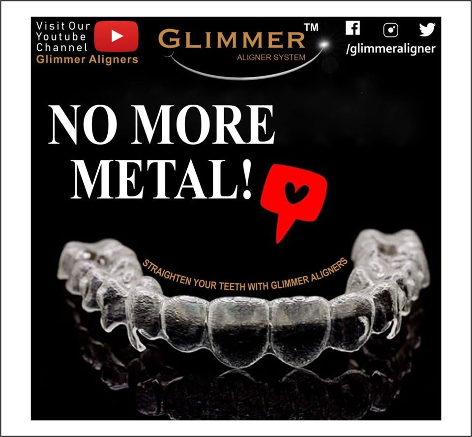 No more metal wires! Straighten teeth with Glimmer Aligners.   #Glimmer #Smile #InvisibleAligners #InvisibleBraces #Covid19 #Stayhome #CosmeticDentistry #Mouth #Orthodontics  #Medical #health #HealthyTeeth #SmileDesign #Beautiful #Happy #Teeth #Dentist
