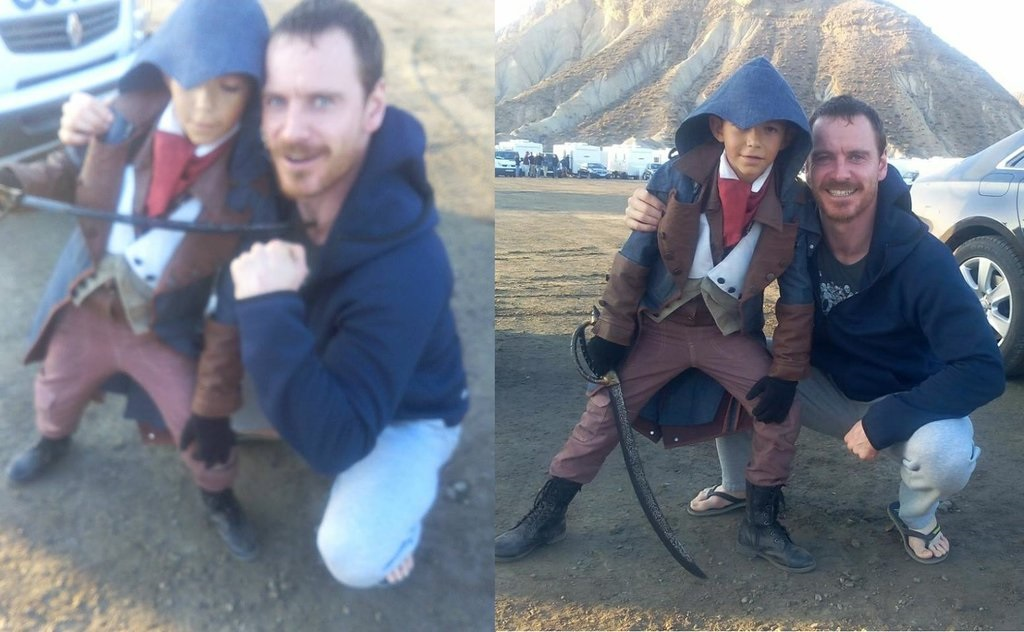 My favourite pics from the Assassin's Creed set  #MichaelFassbender pic.twitter.com/wVgMXaGBDE