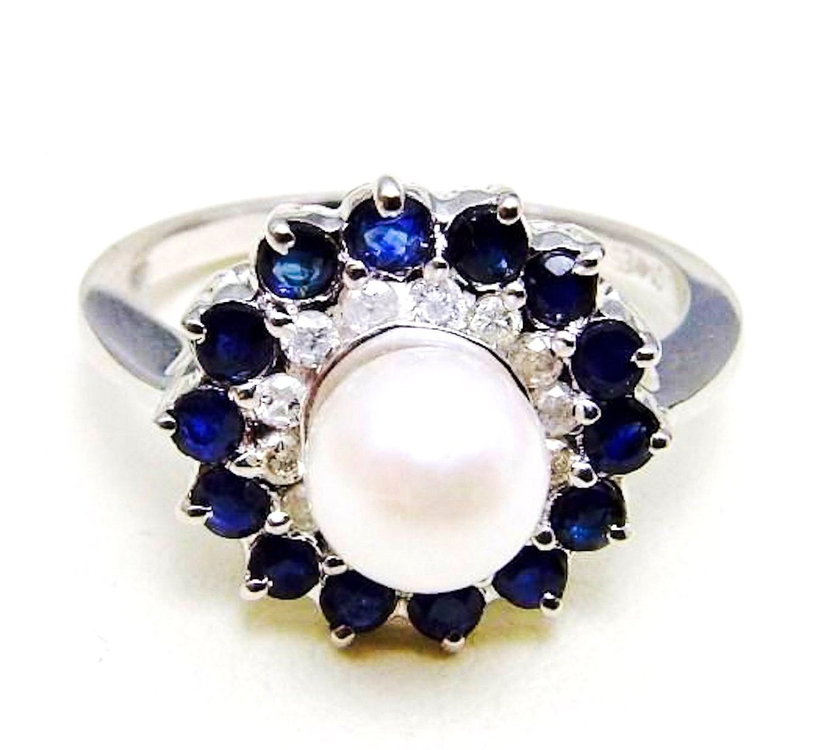 Excited to share the latest addition to my #etsy shop: Best Ring Stunning 18K White Gold 2 cts. Diamond & Sapphires and Japanese Akoya Saltwater White Round Cultured Pearl Handmade Ring Size 4-10  #pearl #white #wedding #round #floral #yes #no #b