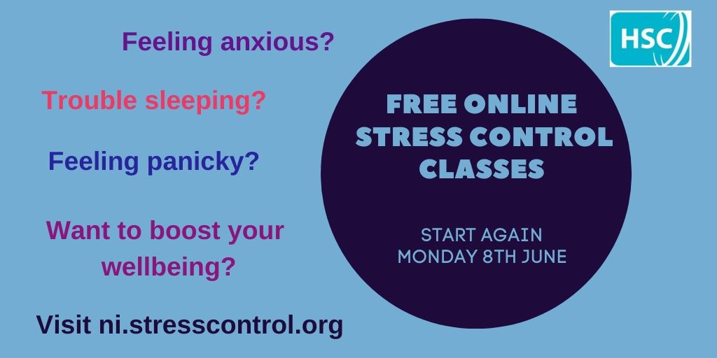 FREE Stress Control classes will stream live online from Monday 8th June. The classes are designed to help support people cope better with anxiety, panicky feelings, poor sleep, boosting wellbeing and resilience.  Visit https://t.co/HJBrXz8gca to find out more. https://t.co/XfkYmAkalz