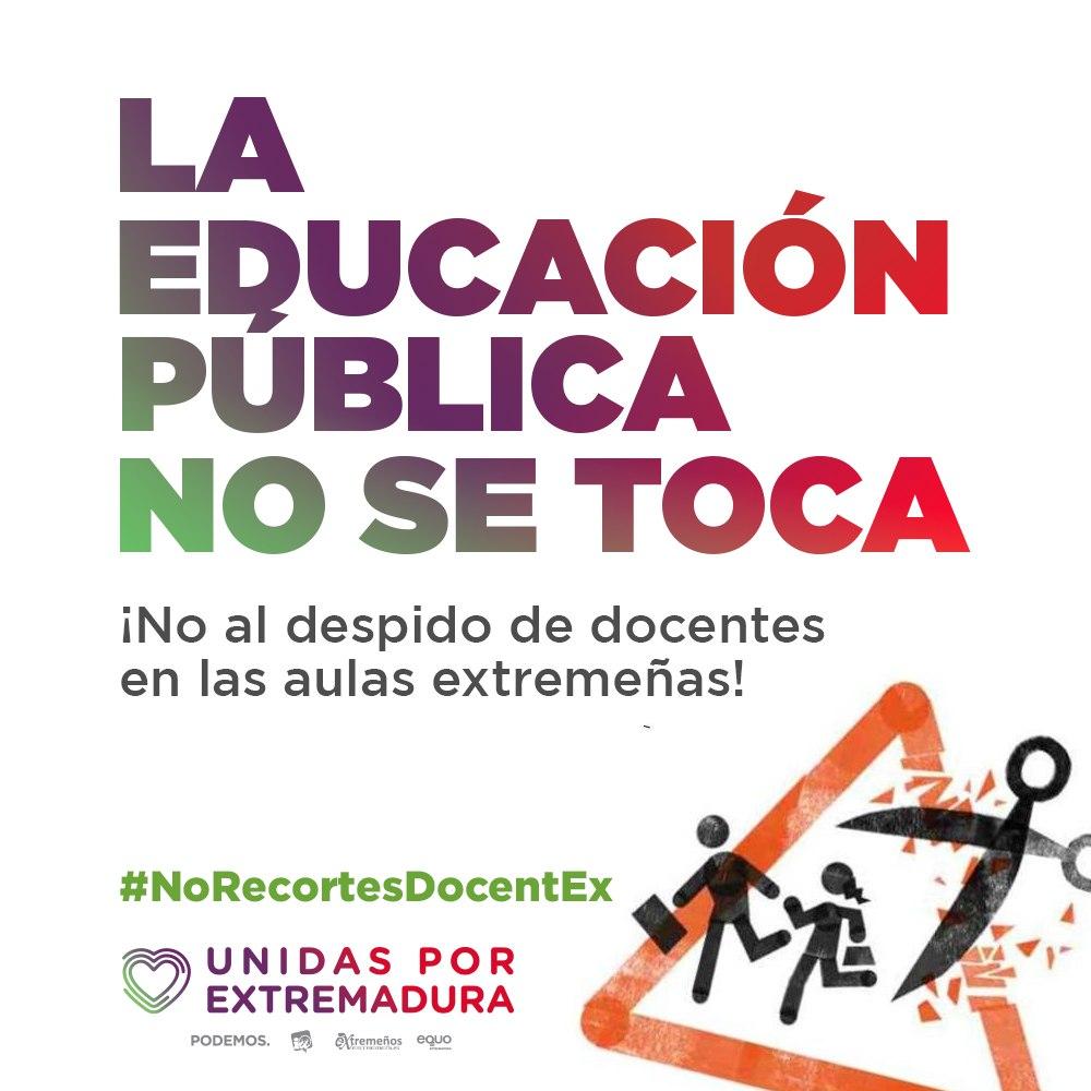 ❌ Nos oponemos frontalmente al hachazo en las plantillas de docentes 👩🏫👨🏫 que pretende llevar a cabo el gobierno de Vara para el próximo curso escolar La Educación Pública NO se toca 🏫