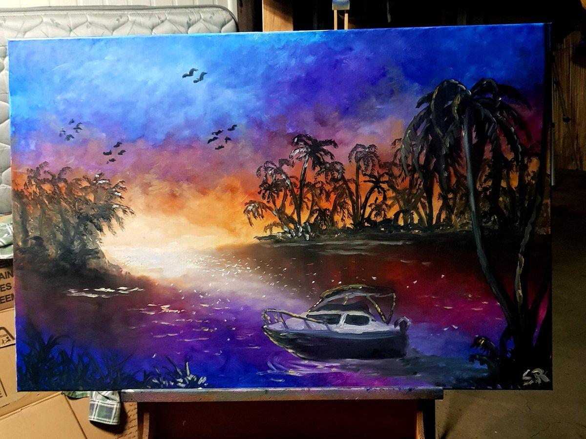 Tropical Sunset 60x90cm oil on canvas #sunset #Artist pic.twitter.com/IteswD2JrR