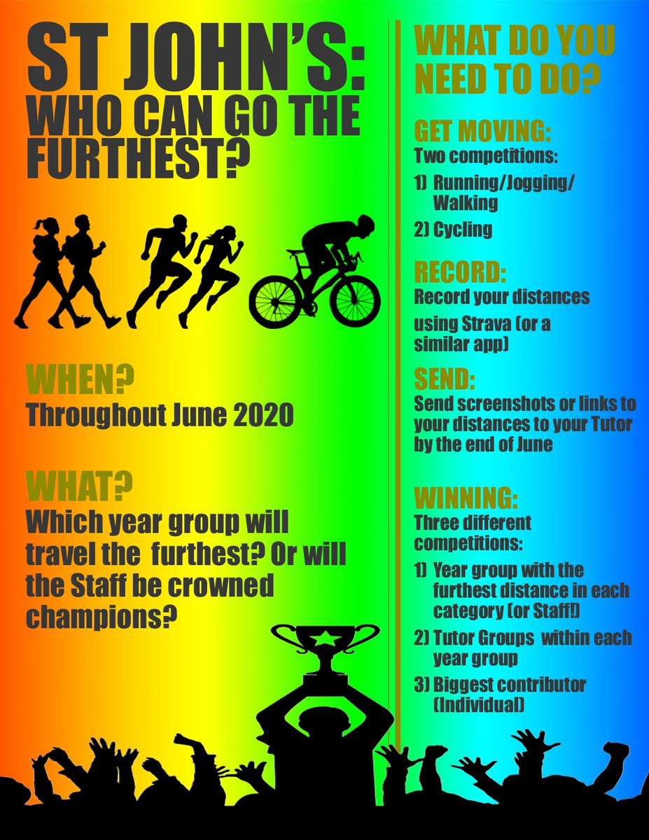 Who can go the furthest? The St John's June challenge has been launched! Staff and students are recording how far they walk, jog, run or cycle throughout June. Which Tutor group will go the furthest? Can the staff beat Year 7? Read more here https://t.co/rZnkm4CeVN