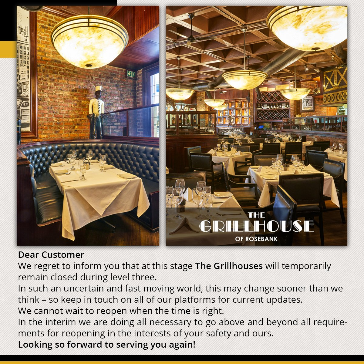 Dear Customer, We regret to inform you that at this stage The Grillhouses will temporarily remain closed during level three. 👇👇👇 #Covid_19SA #Coronavirus #Covid19 #Restaurant #Lockdown #Level3 #StaySafeStayHome #TheGrillhouse #Melrosearch #StaySafe #SouthAfricaLockdown https://t.co/3sOohRKHVD