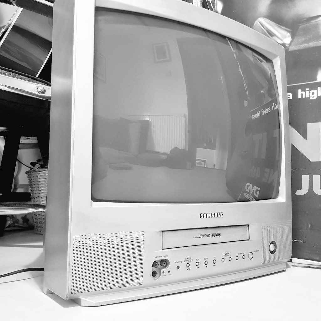 You'll have to excuse all the tweeting today, I'm like a fucking kid in a candy store...  ... dug this TV-VCR monster out. Because no matter if we end up having 10K TV's. #VHS is where it all started, and I will revisit them until I'm old and grey. pic.twitter.com/PnNBGcJPnv