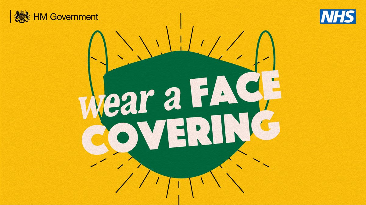 You should wear a face covering in public places, such as the supermarket or on public transport, when social distancing is difficult. #StayAlert